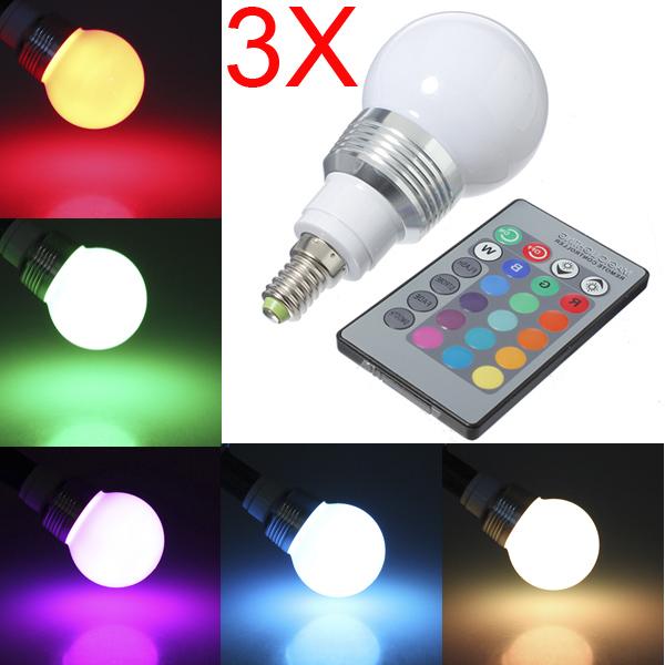 3X E14 3W RGB Globular LED Lamp Bulb Ball Bulb Light AC 85-265V LED Light Bulbs