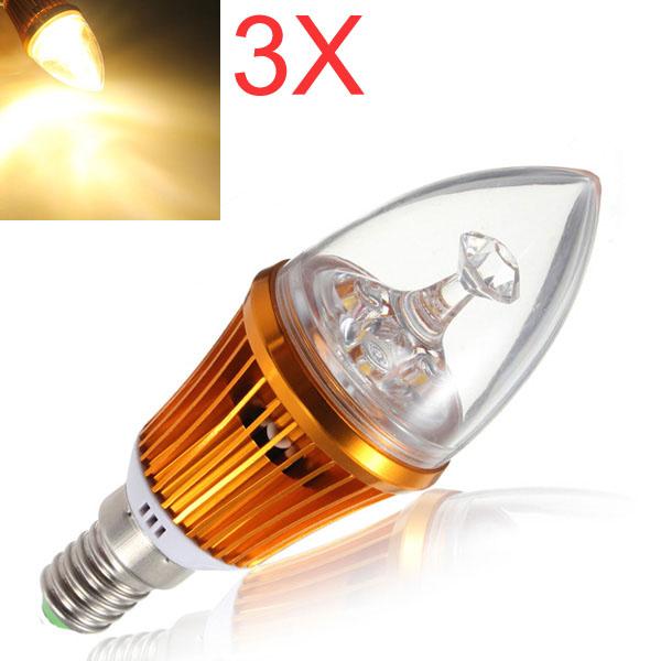 3X E14 4.2W 3LED Non Dimmable Warm White Light Bulbs 85-265V LED Light Bulbs