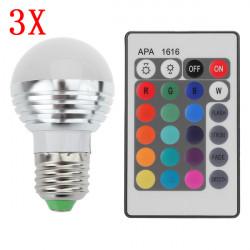 3X E27 3W 16 Color Change RGB LED Ball Bulb lamp 85-265V +IR Remote