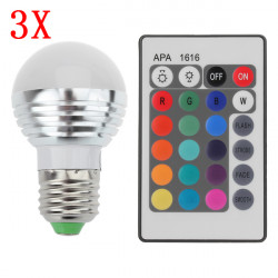 3X E27 3W 16 Farbe Änderung RGB LED Kugel Birne Lampe 85 265V + IR Fernbedienung