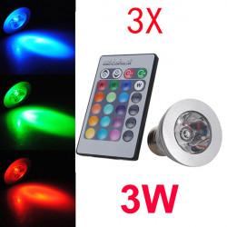 3X E27 3W Fernsteuerungs LED Birnen 16 Farbwechsel AC 85 240V