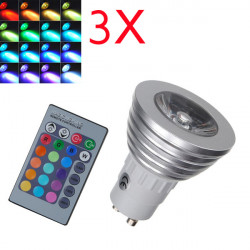 3X GU10 RGB LED Bulb 3W Remote Control 16 Color Changing Light