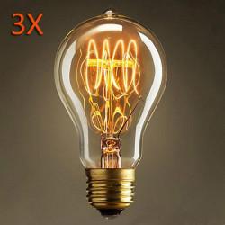 3X Glühbirne E27 40W 220V Retro Edison Stil Glühlampen