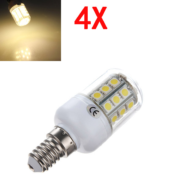 4X E14 3.2W Warm White 5050 SMD 30 LED Corn Bulb With Cover 220V LED Light Bulbs