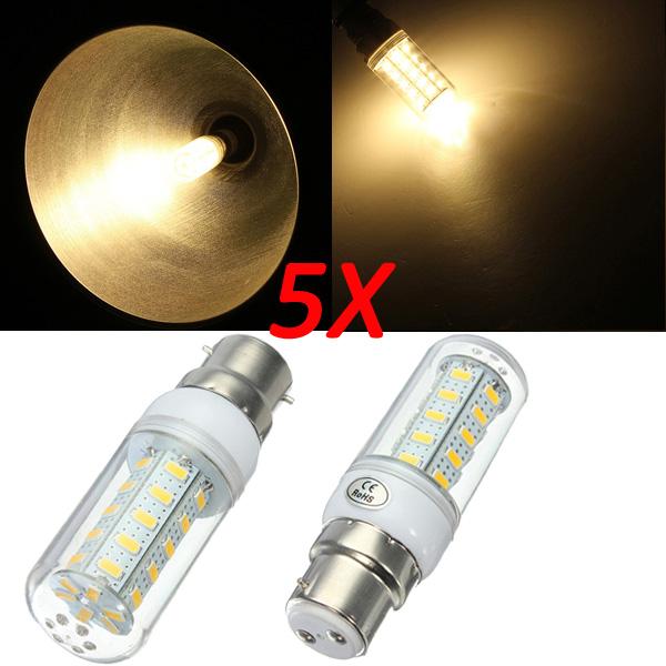 5X B22 7W Varm Hvid 5730 SMD 36 LED Corn Lampe Pære 220V LED-pærer