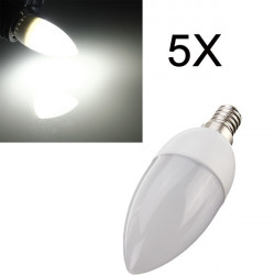 5XE14 2835 SMD 3W White LED Candle Bulb Lamp AC 200-240V