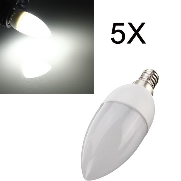 5XE14 2835 SMD 3W White LED Candle Bulb Lamp AC 200-240V LED Light Bulbs