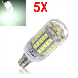 5X E14 6W Hvid 700LM 59 SMD5050 LED Corn Lys Lampe Pærer AC220-240V