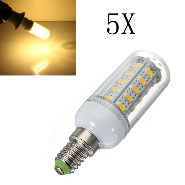 5X E14 7W Warm White 36 SMD 5730 LED Corn Light Lamp Bulbs AC 220V LED Light Bulbs