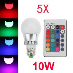 5X E27 10W 16 Farbwechsel RGB LED Kugelbirnen 85 265V + IR Fernbedienung