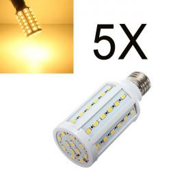 5X E27 15W 60 SMD 5630 Varmvit LED Lampa AC 110V