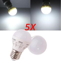 5X E27 3W Pure Vit Energisparande LED-lampa 220V