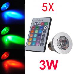 5X E27 3W Fjärrkontroll LED-lampa 16 Färg Skiftande AC 85-240V