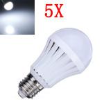 5X E27 5W Pure White 30 SMD3014 LED Light Ball Bulbs Lamp 165-230V LED Light Bulbs