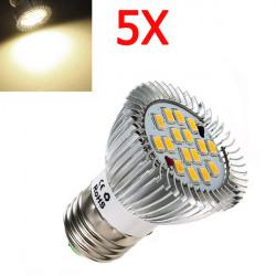 5X E27 6.4W 640LM Warm White SMD5630 16LED Spot Bulb 85V-265V