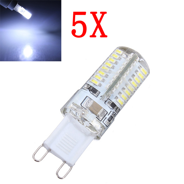 5X G9 3W Pure Vit 64 SMD 3014 LED Lampa 220V LED-lampor