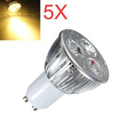5X GU10 9W Warm White 3LED Spot light Bulbs AC85-265V