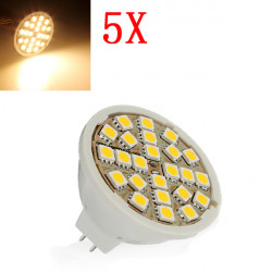 5X MR16 5W Varmvit 24 SMD 5050 LED-Lampa 220V AC