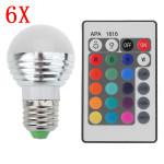 6X E27 3W 16 Färgförändring RGB LED Ball Lampa 85-265V + IR Fjärrkontroll LED-lampor