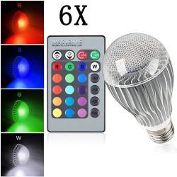 6X E27 9W IR Remote Control 16 Color Change RGB LED Ball Bulbs 85-256V