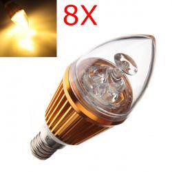 8X E14 3W Warm White LED Candle Light Bulb Lamp 110-240V