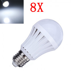8X E27 5W Pure White 30 SMD3014 LED Light Ball Bulbs Lamp 165-230V