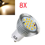 8X GU10 6.4W 16 SMD 5630 LED Varmvit Spotlight Lampa 185-265V LED-lampor