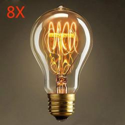 8X Glødepære E27 40W 220V Retro Edison Style Lys Pærer