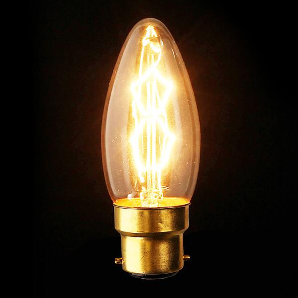 B22 110V / 220V 40W Kerze Weinlese Edison Glühfaden Glühlampe LED Lampen