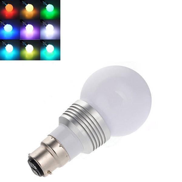 B22 16 Color RGB 3W LED Remote Control Colorful Spot Bulb AC 85-240V LED Light Bulbs