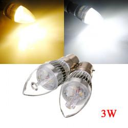 B22 3W 3 LED Vit / Varmvit LED Ljuskrona Candle Ljus Lampa 85-265V
