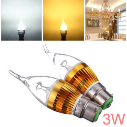 B22 3W AC85-265V White/Warm White Golden Cover LED Candle Light Bulb