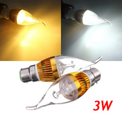 B22 3W Dimbar Vit / Varmvit LED Ljuskrona Candle Ljus Lampa 220V