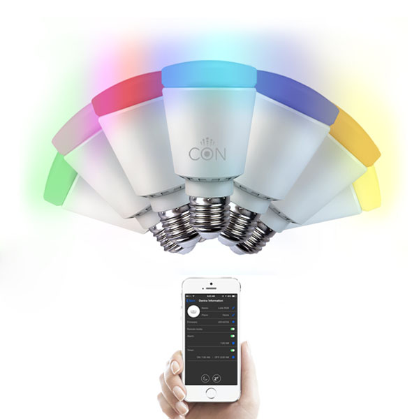 CONlight E27 7W RGB Wireless Bluetooth Control LED Smart Bulb AC 220V LED Light Bulbs
