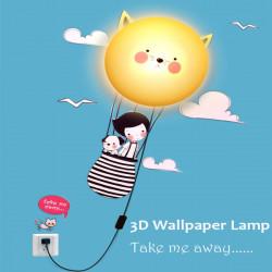 DIY Væg Sticker LED Lampe 3D Cat Aftageligt Hjem December Væglampe