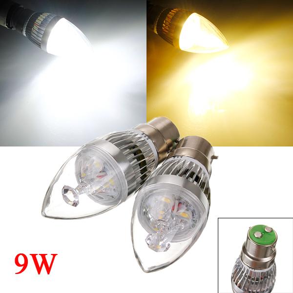 Dimmable B22 9W 3 LED White/Warm White LED Candle Light Bulb 220V LED Light Bulbs
