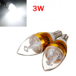 Dimmable E14 3W 3 LED Cool White LED Candle Light Bulb 220V