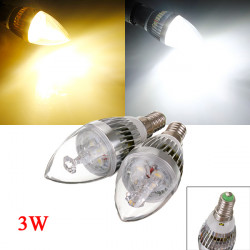 Dimmbare E14 3W 3 LED Weiß / Warm White LED Kerze Glühlampe 220V