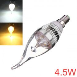 Dimmable E14 4.5W Silver Cover LED Chandelier Candle Light Bulb