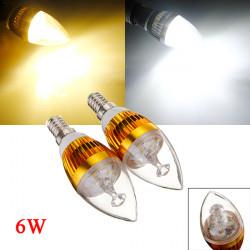 Dimmable E14 6W 3 LED White/Warm White LED Candle Light Bulb 220V