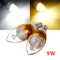 Dæmpbar E14 9W Hvid / Varm Hvid 3 LED Candle Lys Pære 220V
