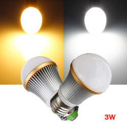 Dimmable E27 3W Warm/Pure White 3 LED Globe Light Bulb Lamp 110V