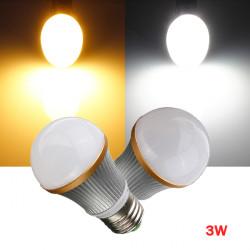 Dimmbare E27 3W warmes / reines Weiß 3 LED Kugel Glühlampe Lampe 220V