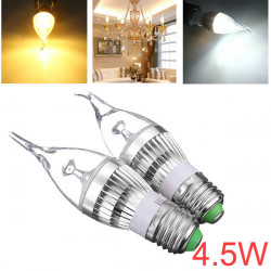 Dimmable E27 4.5W Silver Cover LED Chandelier Candle Light Bulb