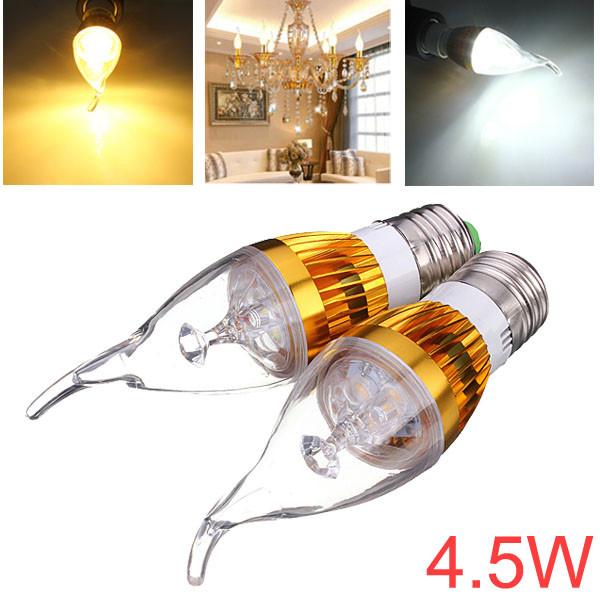 Dimbar E27 4.5W Vit / Varmvit LED Ljuskrona Candle Light Bulb LED-lampor