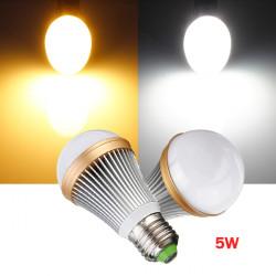 Dimmbare E27 5W warmes / reines Weiß 5 LED Kugel Glühlampe Lampe 220V