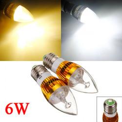 Dimmbare E27 6W 3 LED Weiß / Warm White LED Kerze Glühlampe 220V