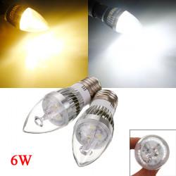 Dimmbare E27 6W 3 LED Weiß / Warm White LED Silber Kerzenlampe 220V