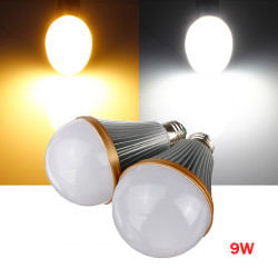 Dimmbare E27 9W warmes / reines Weiß 9 LED Kugel Glühlampe Lampe 110 240V