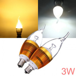 E12 3W AC85 265V weißes / warmes Weiß Goldene Abdeckung LED Kerze Glühlampe
